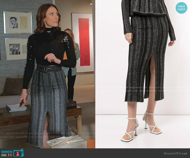 Ottoman Knit Midi Skirt by Proenza Schouler worn by Quinn (Laura Benanti) on Younger