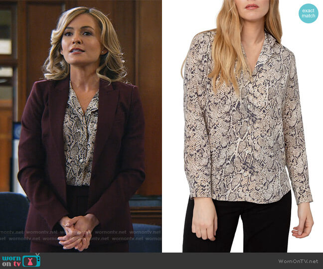 Rebel Python Silk Blouse by Rails worn by Amy Quinn (Lindsey Gort) on All Rise