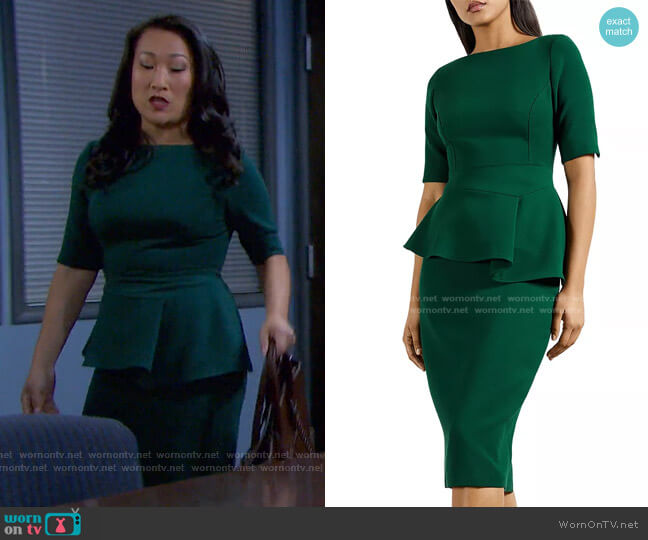 Romolaa Peplum Sheath Dress by Ted Baker worn by Laura Kai Chen on Days of our Lives