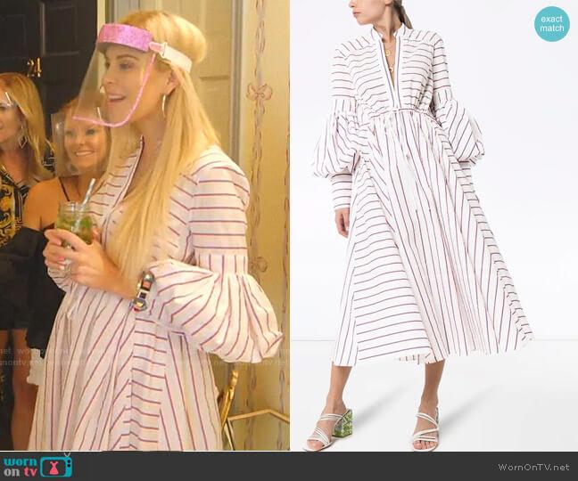lantern-Sleeve Stripe Midi Dress by Rosie Assoulin worn by Kameron Westcott  on The Real Housewives of Dallas