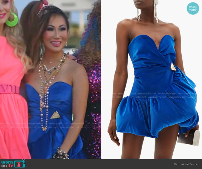 Ruffled Velvet Mini Dress by The Attico worn by Tiffany Moon  on The Real Housewives of Dallas