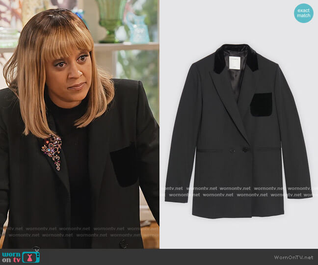 Tailored jacket by Sandro worn by Cocoa McKellan (Tia Mowry-Hardrict) on Family Reunion