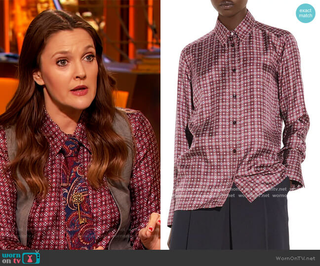 Thia Printed Silk Shirt by Sandro worn by Drew Barrymore  on The Drew Barrymore Show