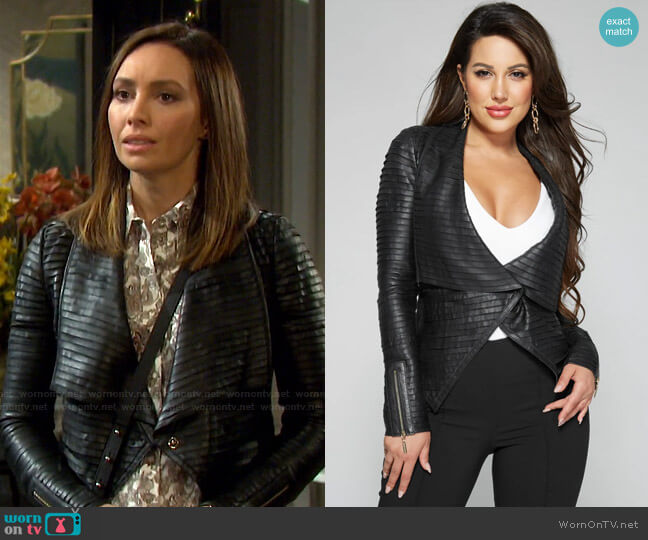 Shayna Drape Leather Jacket by Guess worn by Gwen Rizczech (Emily O'Brien) on Days of our Lives