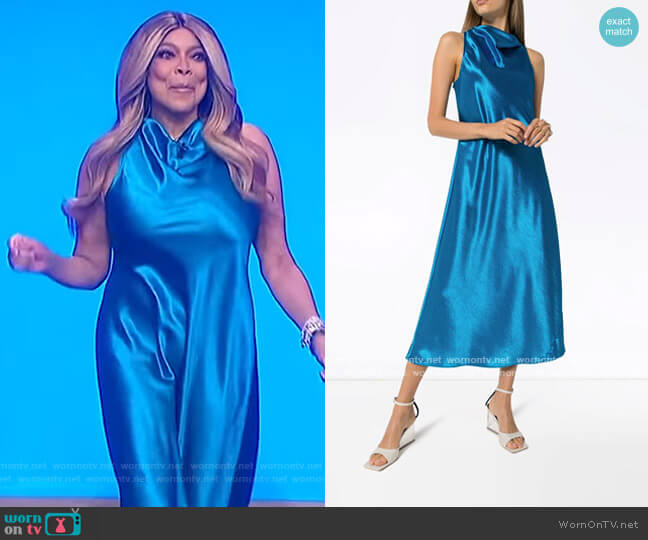 Andy cowl-neck midi dress by Sies Marjan worn by Wendy Williams  on The Wendy Williams Show