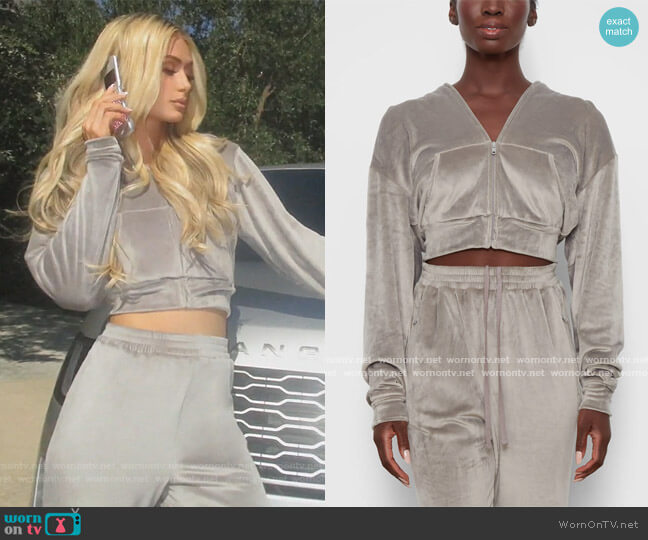 Velour Hoodie and Pants by Skims worn by Paris Hilton on Keeping Up with the Kardashians