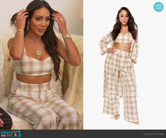 She Loves the Attention Plaid Bralette and Pants by The Cara Santana Collection worn by Melissa Gorga  on The Real Housewives of New Jersey