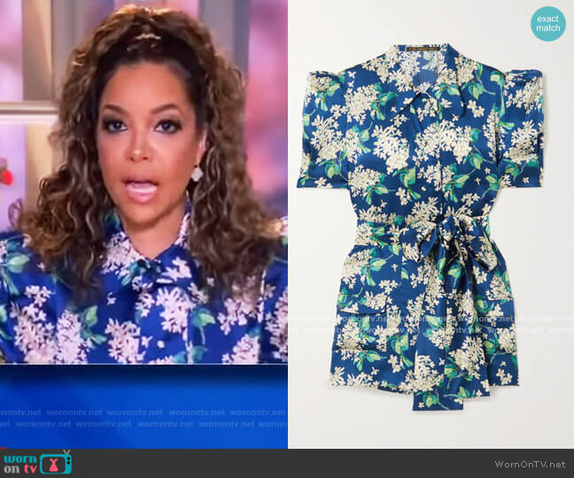 Belted floral-print hammered silk-satin blouse by The Vampires Wife worn by Sunny Hostin  on The View
