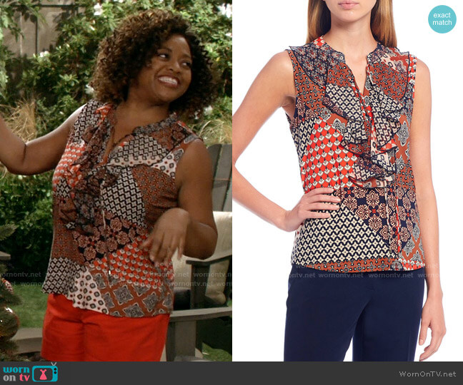 Tommy Hilfiger Patchwork Print Mixed Media Ruffle Detail Sleeveless Top worn by Sharon (Sherri Shepherd) on Call Your Mother