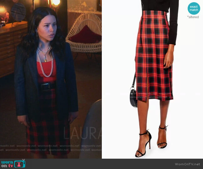 Check Pencil Midi Skirt by Topshop worn by Mariana Foster (Cierra Ramirez) on Good Trouble