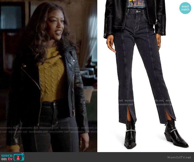 Topshop High Waist Split Hem Ankle Straight Leg Jeans worn by Ryan Wilder (Javicia Leslie) on Batwoman