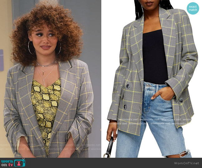 Lemon Check Double Breasted Blazer by Topshop worn by Jade (Talia Jackson) on Family Reunion