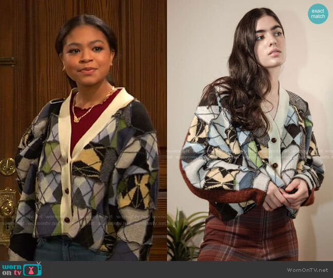Arden Patchwork Argyle Cardigan by Urban Outfitters worn by Nia Baxter (Navia Robinson) on Ravens Home