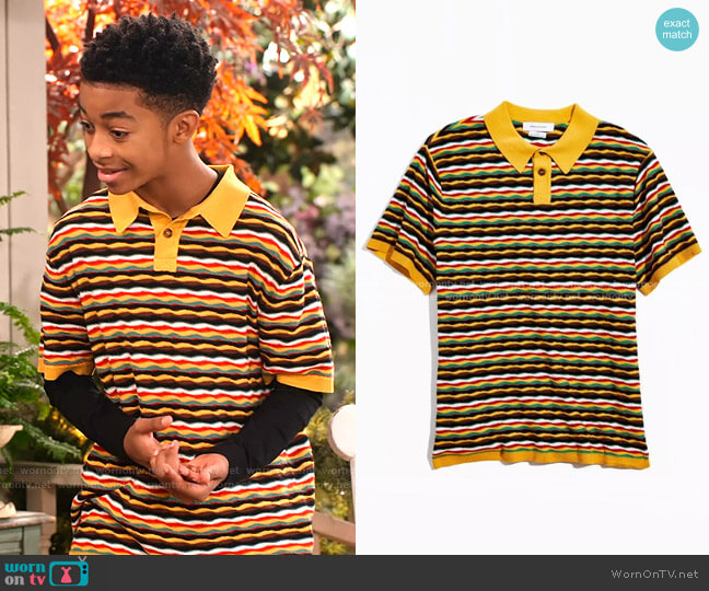 Zeke Stripe Sweater Polo Shirt by Urban Outfitters worn by Shaka McKellan (Isaiah Russell-Bailey) on Family Reunion