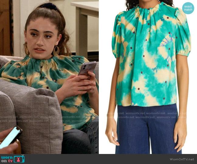 Ulla Johnson Isolda Tie Dye & Texture Dot Silk Blouse worn by Jackie Raines (Rachel Sennott) on Call Your Mother