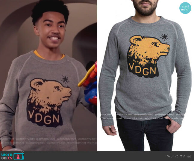 VDGN Logo Bear Graphic Pullover by Vardagen worn by Jack Johnson (Miles Brown) on Blackish