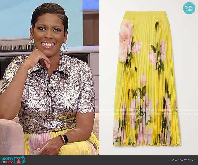 Pleated floral-print silk-crepe midi skirt by Valentino worn by Tamron Hall  on Tamron Hall Show