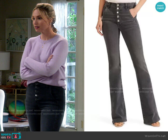 Veronica Beard Beverly High Waist Skinny Flare Jeans in Stonington worn by Mandy Baxter (Molly McCook) on Last Man Standing