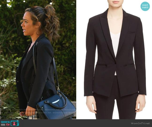 Scuba Jacket by Veronica Beard worn by Emily Lopez (Jessica Camacho) on All Rise