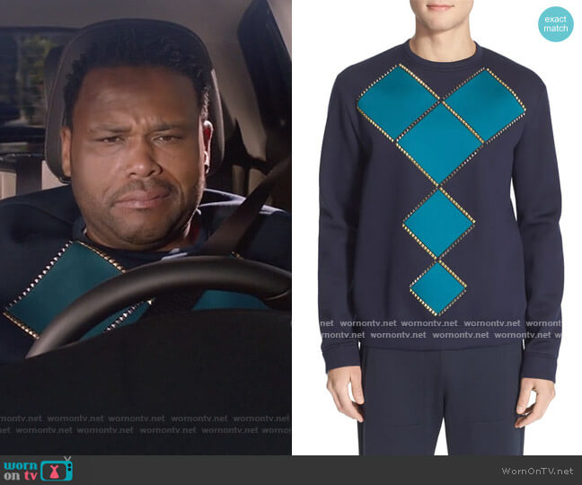 Geometric Studded Sweatshirt by Versace worn by Andre Johnson (Anthony Anderson) on Blackish