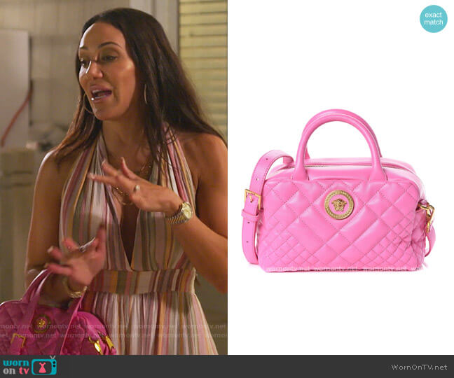 Nappa Quilted Icon Bowler Pink by Versace worn by Melissa Gorga  on The Real Housewives of New Jersey