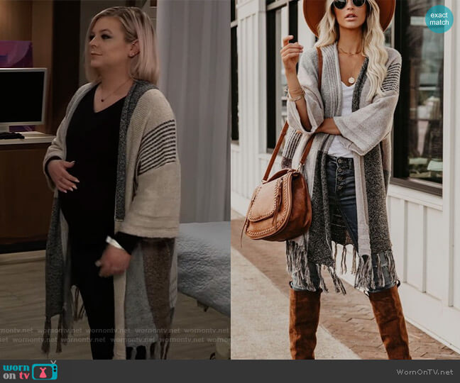 District Fringe Colorblock Cardigan by Vici worn by Maxie Jones (Kirsten Storms) on General Hospital