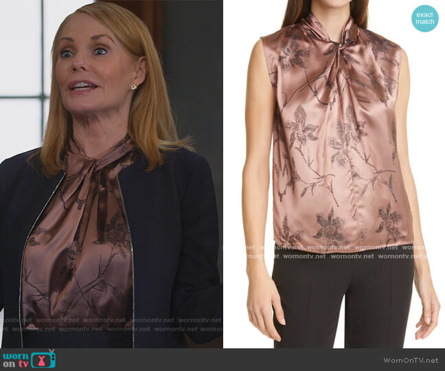 Iris Twist Knot Top by VINCE worn by Lisa Benner (Marg Helgenberger) on All Rise