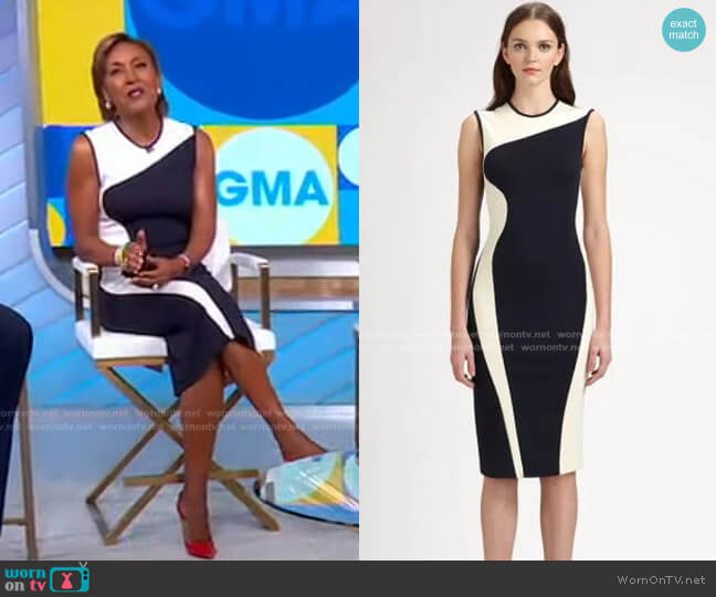 Wave Colorblock Stretch Jersey Dress by Stella McCartney worn by Robin Roberts  on Good Morning America