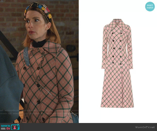 Wool-Blend Checked Coat by Miu Miu worn by Lauren (Molly Bernard) on Younger