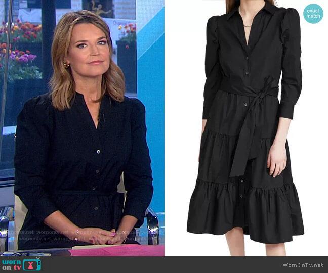 Zeila Tie Waist Long Sleeve Shirtdress by Veronica Beard worn by Savannah Guthrie  on Today