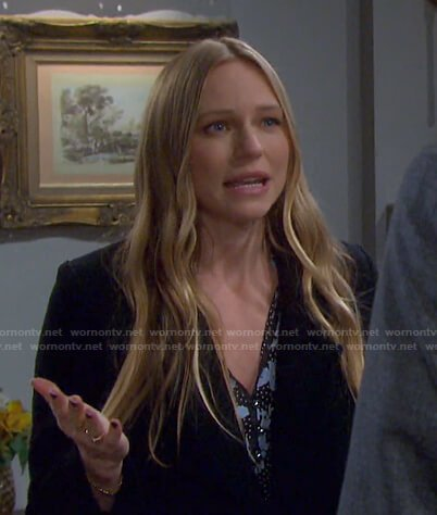 Abigail's black polka dot and floral print dress on Days of our Lives