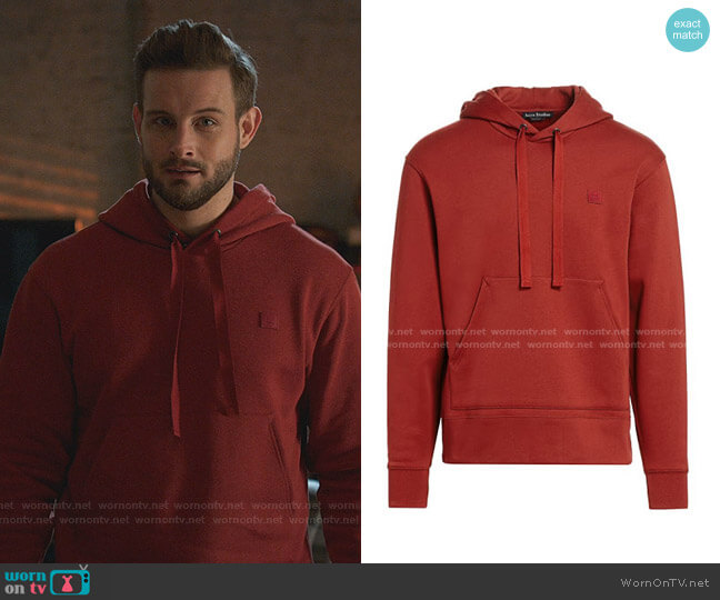 Face-Patch Hoodie by Acne Studios worn by Nico Tortorella on Younger