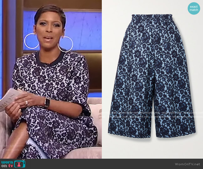 Bonded corded lace and jersey culottes by Adam Lippes worn by Tamron Hall  on Tamron Hall Show