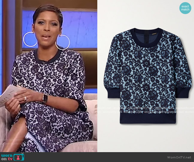 Bonded corded lace and jersey sweatshirt by Adam Lippes worn by Tamron Hall  on Tamron Hall Show