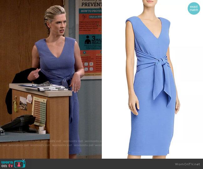 Adrianna Papell Rio Knit Tie-Front Sheath Dress worn by Samantha (Briga Heelan) on B Positive