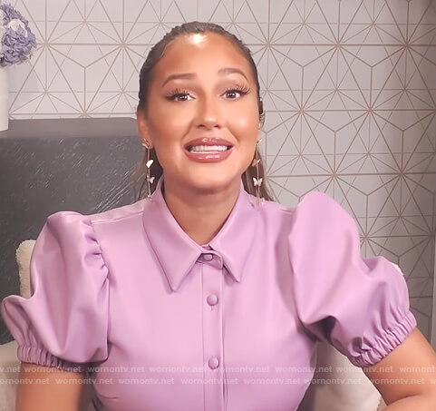 Adrienne's lavender leather dress on The Real