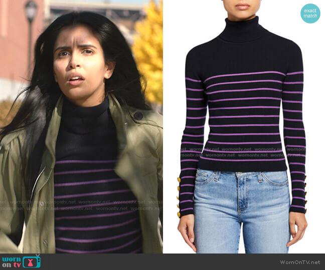 Desi Striped Turtleneck Sweater by A.L.C. worn by Saanvi (Parveen Kaur) on Manifest