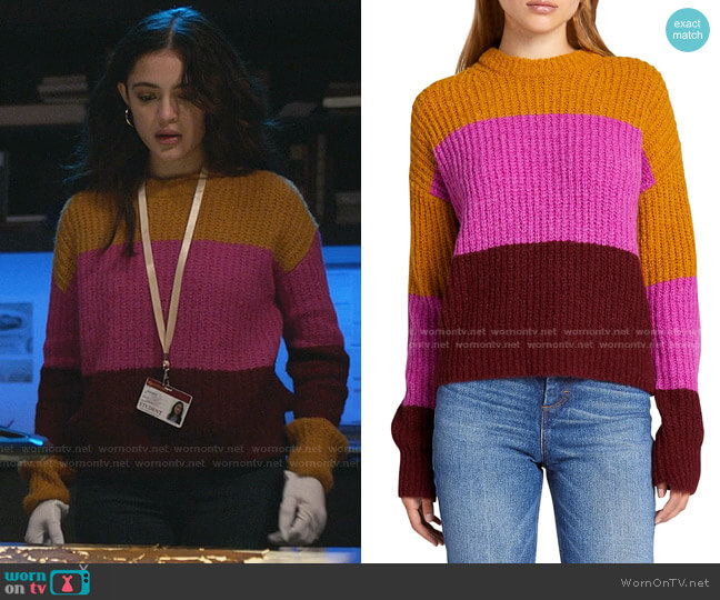 Robertson Colorblock Sweater by A.L.C. worn by Olive Stone (Luna Blaise) on Manifest