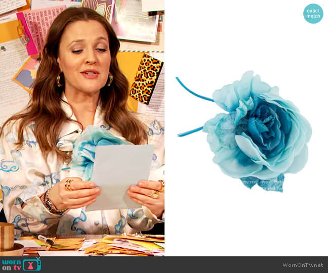 Flower Applique Brooch by Alessandra Rich worn by Drew Barrymore  on The Drew Barrymore Show