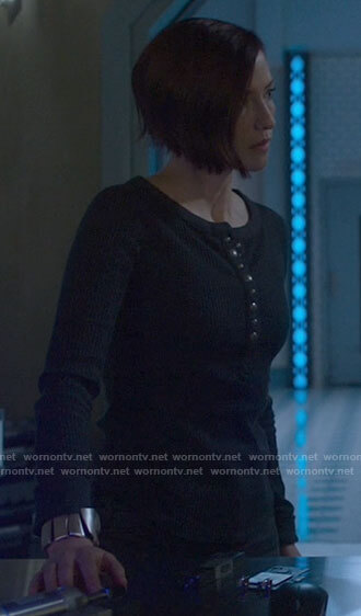 Alex's black snap button henley top on Supergirl