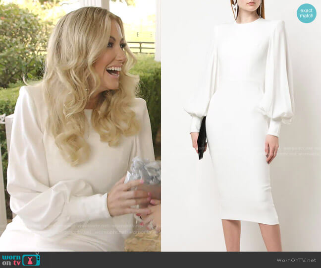 Structured Shoulder Billowed Sleeve Dress by Alex Perry worn by Stephanie Hollman  on The Real Housewives of Dallas