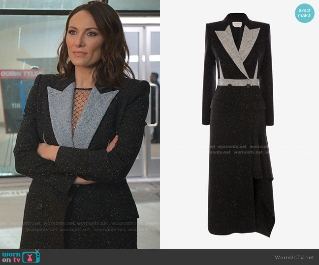 Double-Breasted Donegal Coat by Alexander McQueen worn by Quinn (Laura Benanti) on Younger