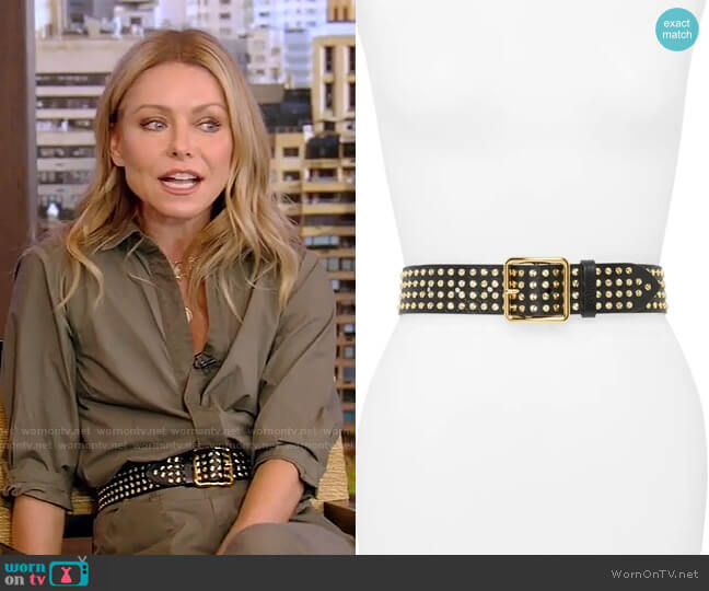 Studded Leather Belt by Alexander McQueen worn by Kelly Ripa  on Live with Kelly & Ryan