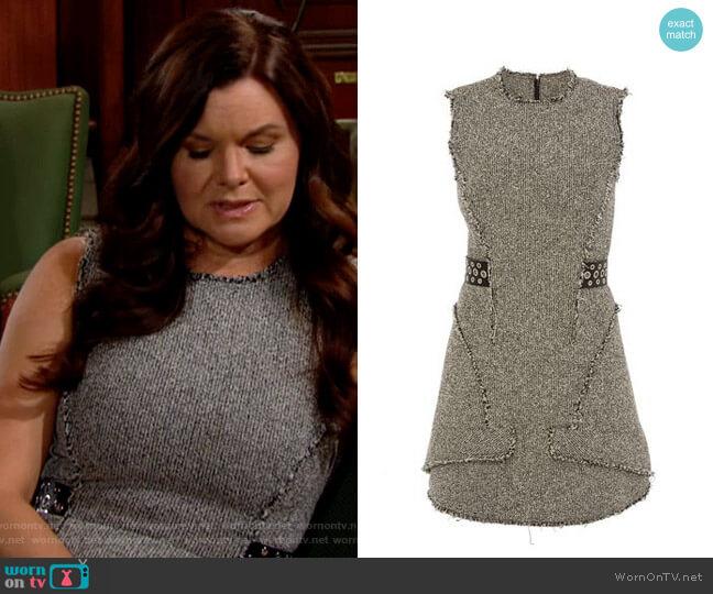 Alexander Wang Grommet-Belt Peplum Dress worn by Katie Logan (Heather Tom) on The Bold & the Beautiful