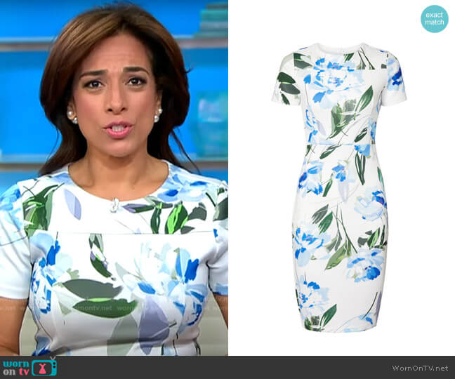 Alexia Admor Blue Floral Sheath worn by Michelle Miller  on CBS This Morning