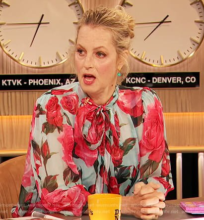 Ali Wentworth's rose print tie neck blouse on The Drew Barrymore Show