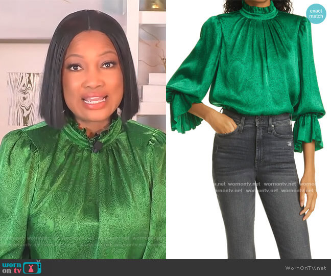Launa Paisley Blouson Sleeve Satin Top by Alice + Olivia worn by Garcelle Beauvais  on The Real