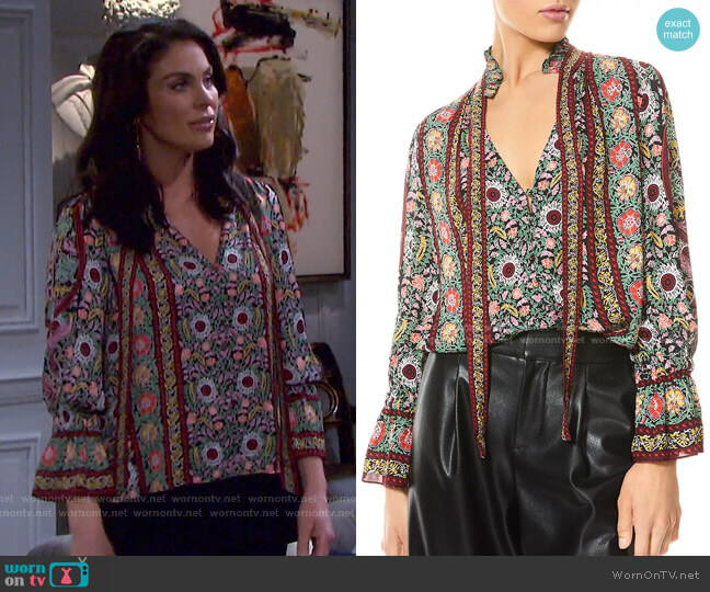 Reilly Floral Ruffle Tie Neck Top by Alice + Olivia worn by Chloe Lane (Nadia Bjorlin) on Days of our Lives