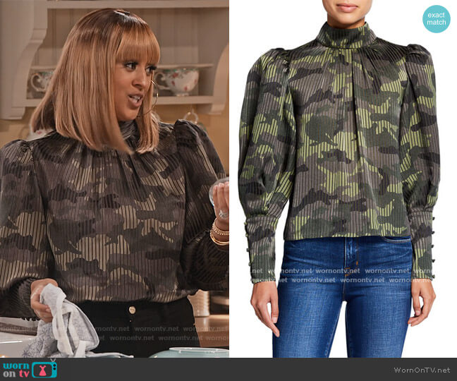 Winslet Camo Print Long Cuff Tunic Blouse by Alice + Olivia worn by Cocoa McKellan (Tia Mowry-Hardrict) on Family Reunion