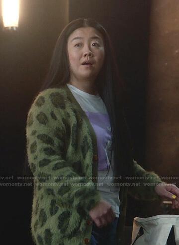 Alice's green leopard cardigan on Good Trouble